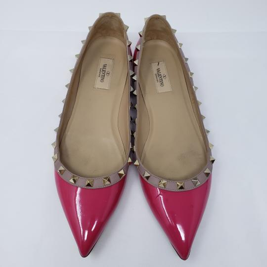 Valentino Hardware Pointed Toe Studded Rockstud Spike Pink, Gold Flats