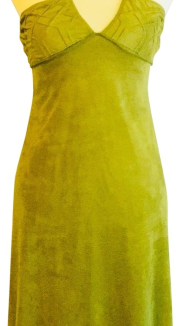 Item - Green Faux Suede Halter Mid-length Casual Maxi Dress Size 4 (S)