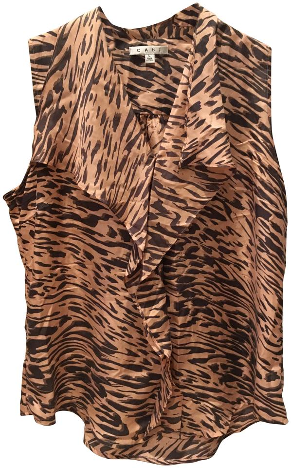 8b8025dff61f84 CAbi Pink and Brown Animal Print Sleeveless   104 Blouse Size 12 (L ...