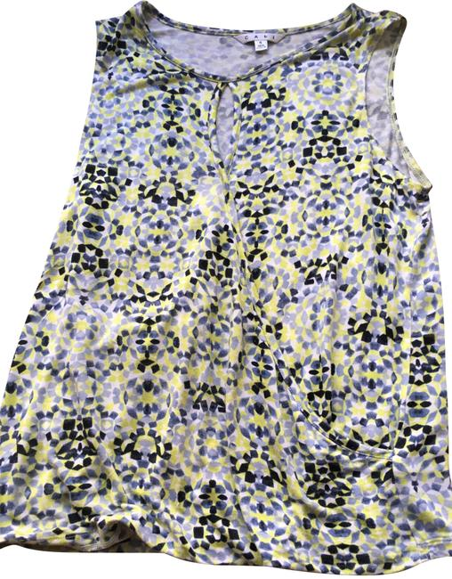 Preload https://item3.tradesy.com/images/cabi-yellow-blue-and-white-sleeveless-crossover-tee-shirt-size-6-s-23756277-0-1.jpg?width=400&height=650