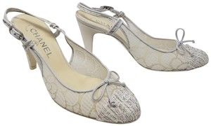 Chanel Mesh Tweed Embroidered Hardware Interlocking Cc Silver Pumps