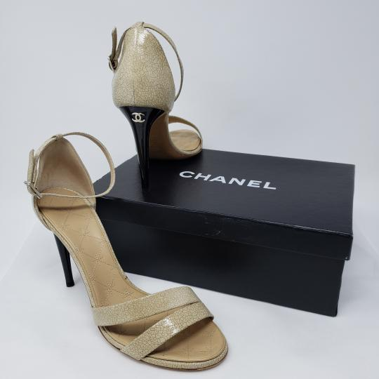 Chanel Ankle Strap Gold Hardware Interlocking Cc Platform Peep Toe Beige, Black Sandals