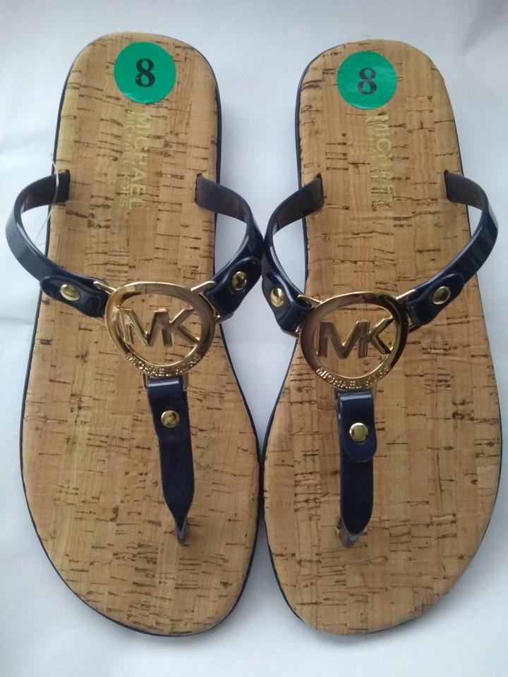 5497c095a0be Michael Kors Charm Casual Logo Gold Hardware Blue Navy Sandals Image 9.  12345678910