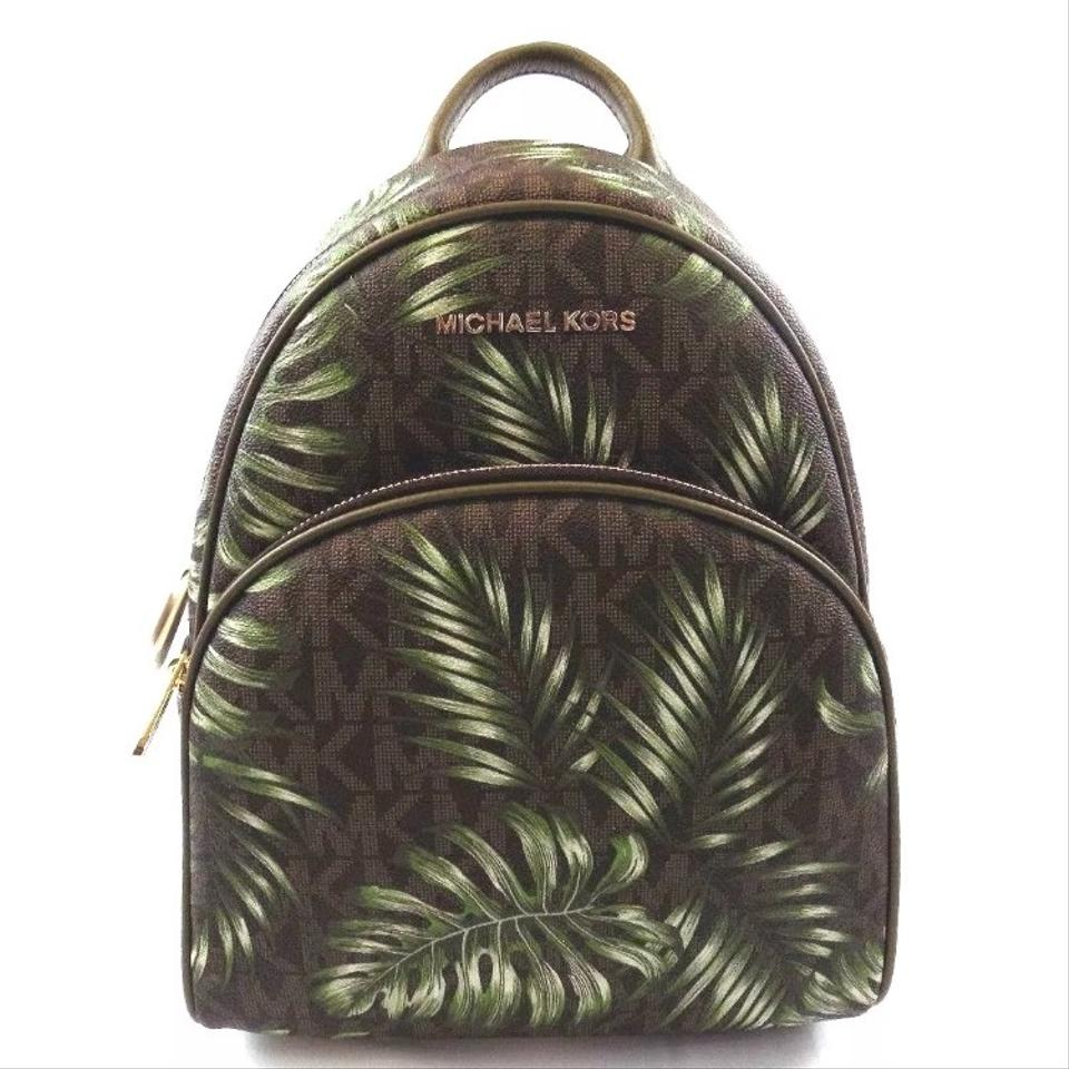 34b1453bc46df6 Michael Kors Mk Abbey Medium Palm Leaves Green Back Bookbag Brown ...
