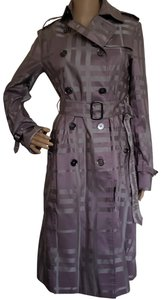 Burberry Belted Nova Check Plaid House Check Silver Hardware Trench Coat