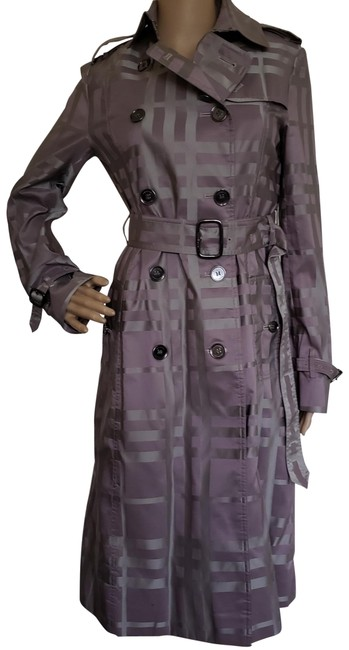 Item - Purple Grey London Plaid Print Belted Long Coat Size 6 (S)