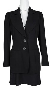 Ann Demeulemeester Black Textured Wool Blazer and Skirt Set M