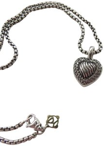 David Yurman SS Sculpted Cable Heart w/Pave' Diamonds