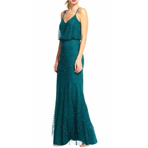 Adrianna Papell Hunter Green Beaded Art Deco Blouson Gown Feminine Bridesmaid/Mob Dress Size 10 (M)
