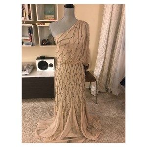 Adrianna Papell Beaded One Shoulder Gown Feminine Bridesmaid/Mob Dress Size 6 (S)