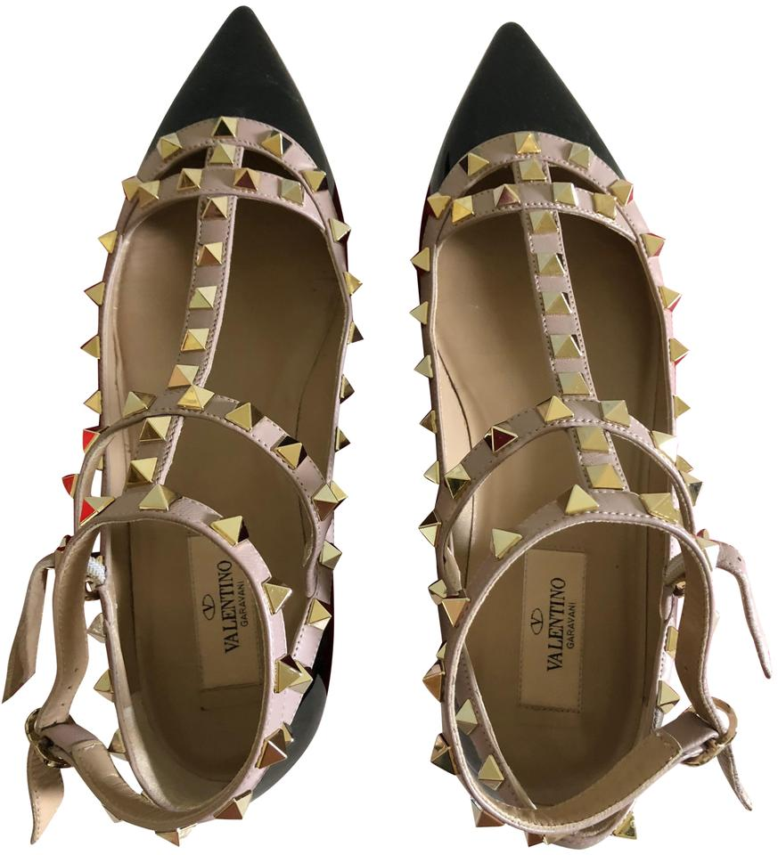 8651dc28d43e Valentino Patent Black and Blush The Rockstud Ankle Strap Pointy Toe Flats