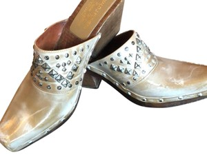 Donald J. Pliner Studded Distressed Tan and Cream Mules