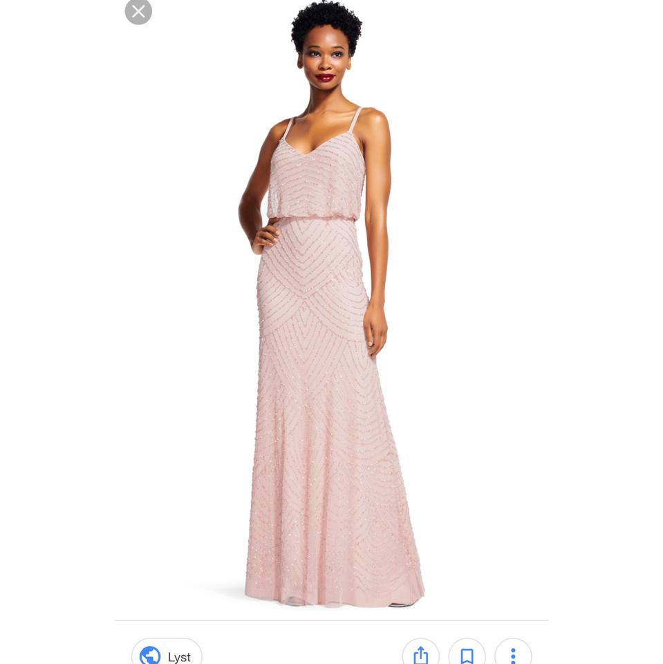 Adrianna Papell Blush Beaded Art Deco Blouson Gown Feminine ...