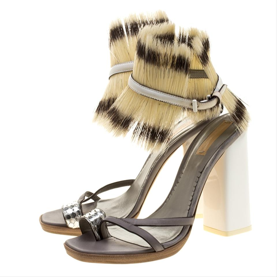 Reed Boar Biege Leather Cuff Sandals Grey Krakoff Grey and Ankle Hair rUwqrY