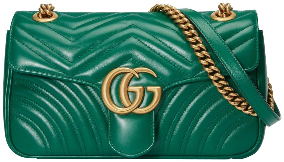9d0af626e5c8 Gucci Marmont New Small Matelasse Green Leather Shoulder Bag - Tradesy