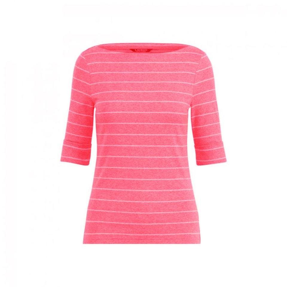 868deb78384a3a Ralph Lauren Soft Pink/White Striped Cotton Boatneck Womens Tee Shirt