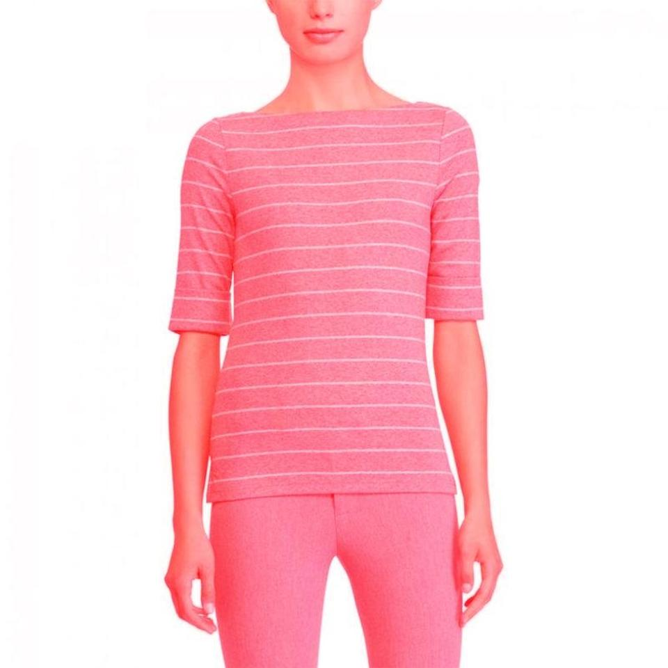 c9a30183dc8211 Ralph Lauren Soft Pink/White Striped Cotton Boatneck Womens Tee ...