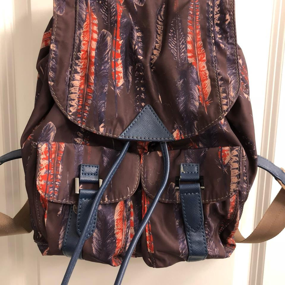 Sam Edelman Colorful Feather Print Small Backpack Multicolor Nylon Cross  Body Bag 99a3a810493a9
