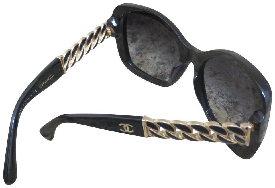 11261ca054f8 Chanel Black and Gold Butterfly Chain Link Sunglasses - Tradesy