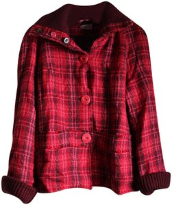 Free People Plaid Fall Red Jacket