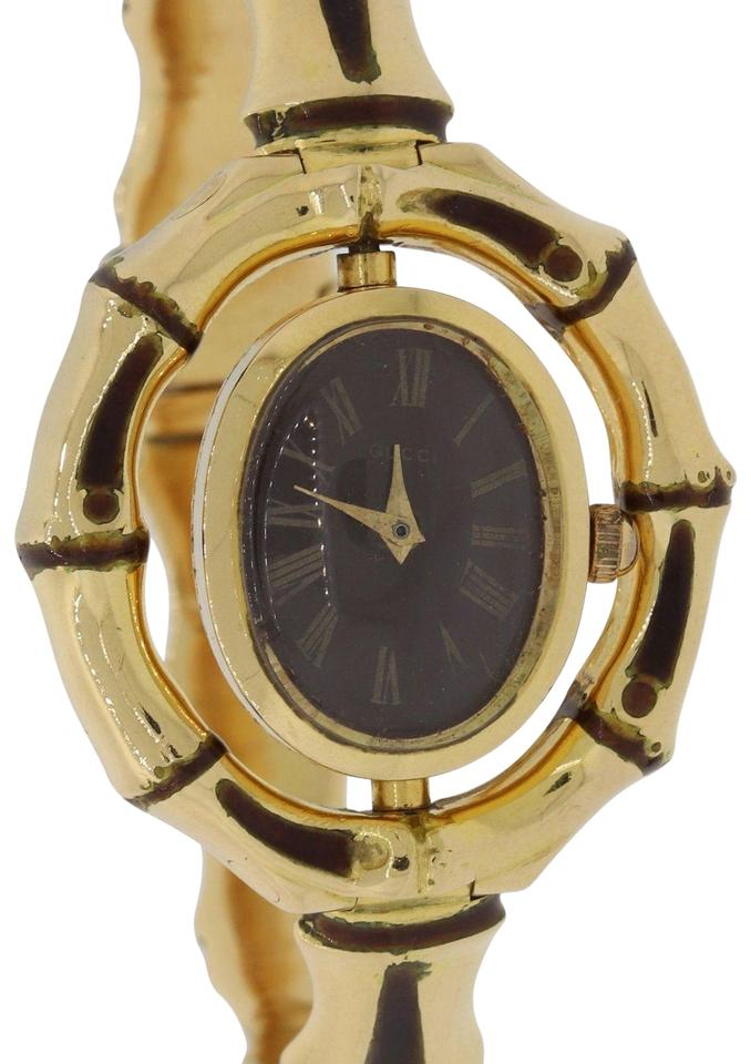 2fcff262d3d Gucci Vintage Ladies Gucci Bamboo Enamel Solid 18k Italy Jewelry Watch Y8  Image 0 ...