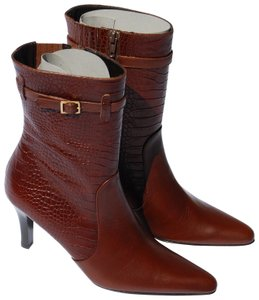 602f2c155a68 Brooks Brothers Midcalf Crocodile Print Leather Brown Boots