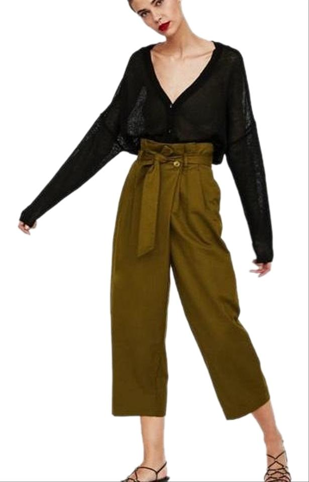 4902b5cc Zara Olive Crossover Envelope High Waisted Belted Pants Size 10 (M ...