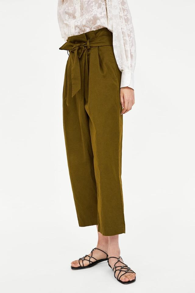 df889a4d Zara Olive Crossover Envelope High Waisted Belted Pants Size 10 (M, 31)