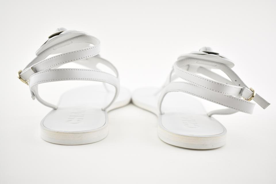 8816a502b67 Chanel Flat Strappy Gladiator Camellia white Sandals Image 10. 1234567891011