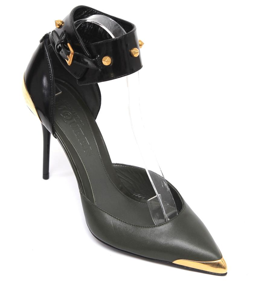 1f77fffa94ee Alexander McQueen Olive Green Black Gold Leather D orsay Pointed Toe Ankle  Strap Stud Pumps