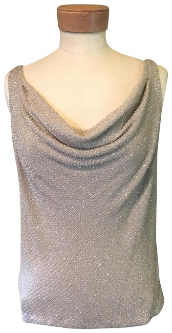 Item - Beaded Cowl Neck Silver Top