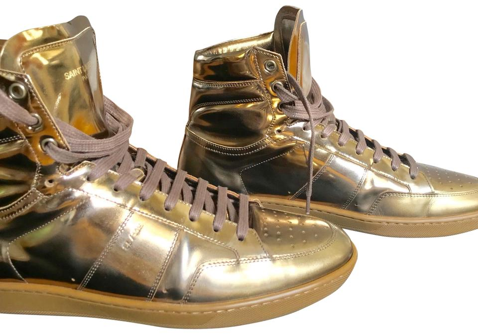 2e1938ee0e4bf Saint Laurent Gold Men s Sl 10h Signature Court Classic Metallic Leather  High-top Sneakers Sneakers