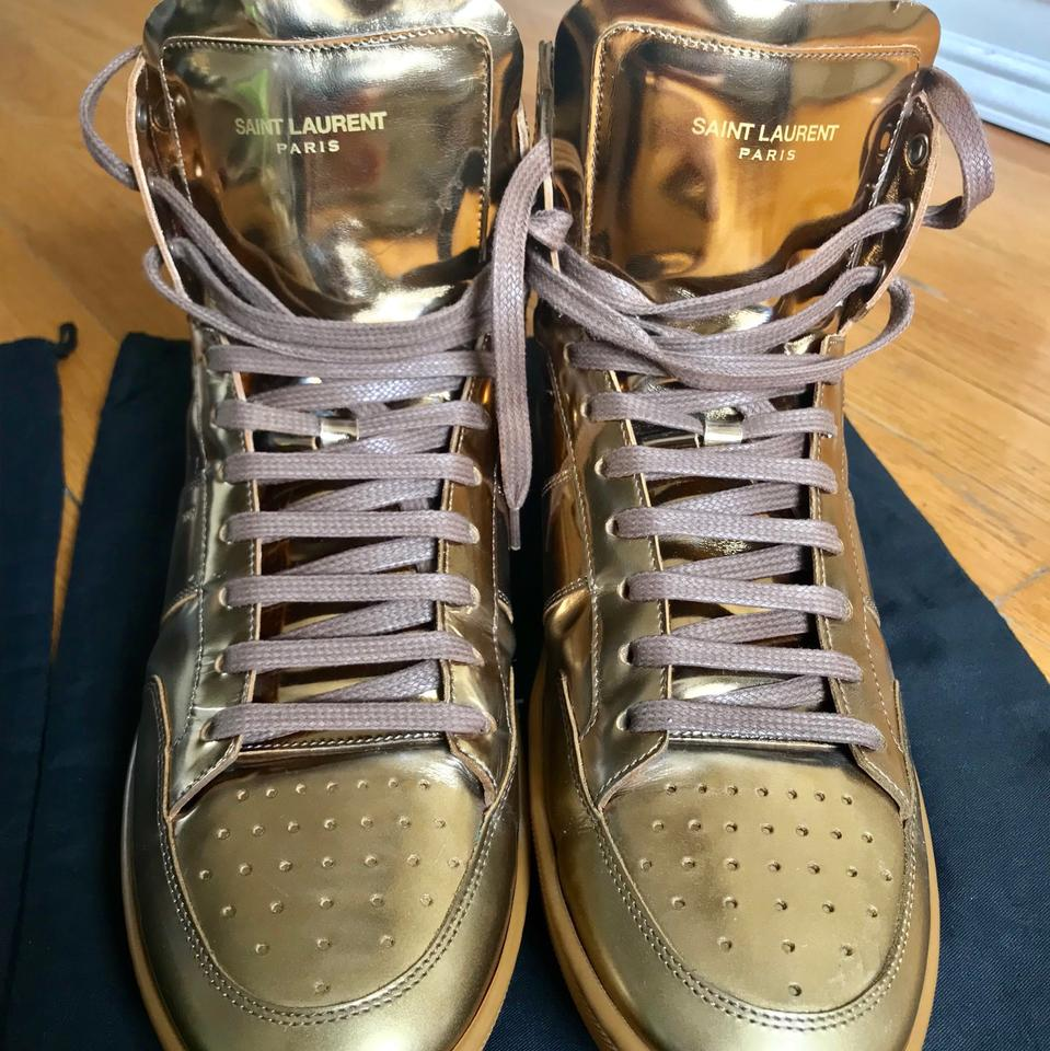 c3504a141971b Saint Laurent Gold Men s Sl 10h Signature Court Classic Metallic Leather  High-top Sneakers Sneakers Size US 10 Regular (M