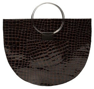 VEDA Leather Patent Patent Leather Crocodile Tote in Brown