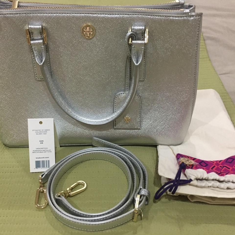 Metallic Robinson Burch Silver Satchel zip Mini Tory Double Tote Leather EqZxC5