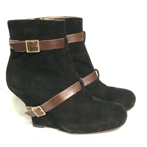 Miss Albright Suede Wedge Black Boots
