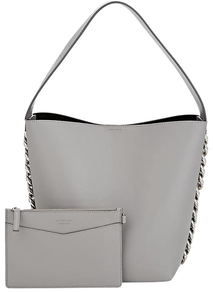Givenchy Infinity Thick Chain Bucket Handbag Gray Leather Shoulder ... 6061ab74ef847