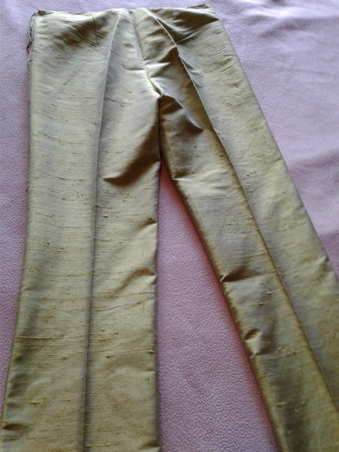 Romeo Gigli Solid Color Regular Fit Silk Made In Italy Trouser Pants Light green Image 2