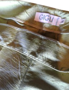 Romeo Gigli Light Solid Color Regular Fit Silk Made In Italy Trouser Pants olive