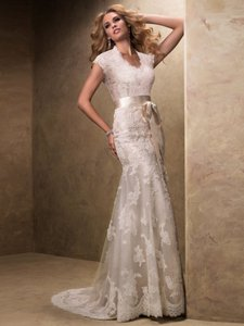 Maggie Sottero Ivory Over Light Gold Satin Lace Tulle Bronwyn Feminine Wedding Dress Size 10 (M)