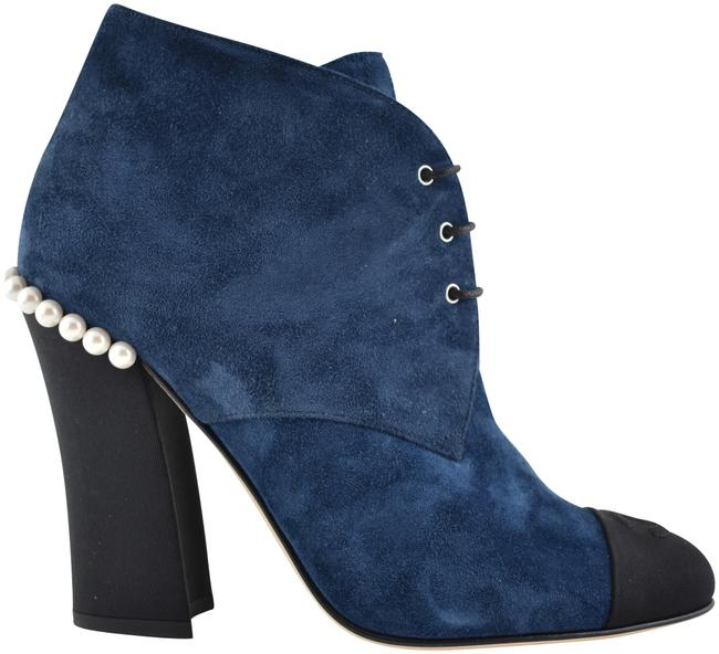 Chanel Black 18c Blue Suede Cc Pearl Lace Up Tie Short Ankle Heel Boots/Booties Size EU 36.5 (Approx. US 6.5) Regular (M, B) Chanel Black 18c Blue Suede Cc Pearl Lace Up Tie Short Ankle Heel Boots/Booties Size EU 36.5 (Approx. US 6.5) Regular (M, B) Image 1