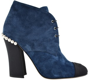 Chanel Stiletto Leather Ankle Pearl black Boots