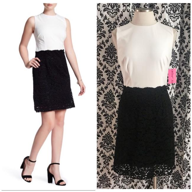 Preload https://img-static.tradesy.com/item/23758924/betsey-johnson-black-and-ivory-lace-colorblock-short-workoffice-dress-size-8-m-0-0-650-650.jpg