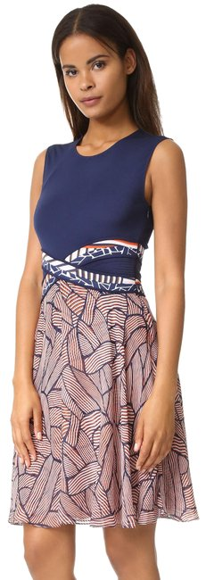 Item - Multicolor Dvf Rosalie Mixed Media Fit & Flare Silk Mid-length Short Casual Dress Size 10 (M)