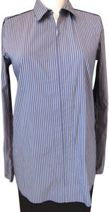 Theory Zipper Striped Cotton Stret Stretchy Button Down Shirt Blue