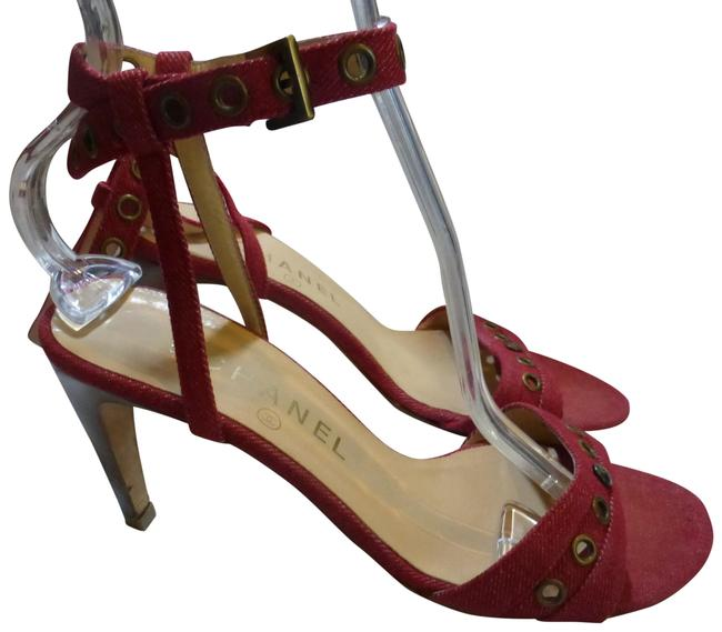 Item - Red Canvas Denim Ankle Strap Italy Sandals Size EU 37 (Approx. US 7) Regular (M, B)
