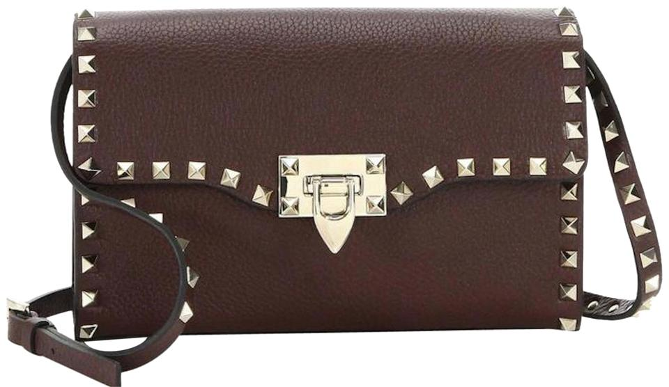 Valentino Leather Dark Bag Body Brown Cross Rockstud RBwxrgqR