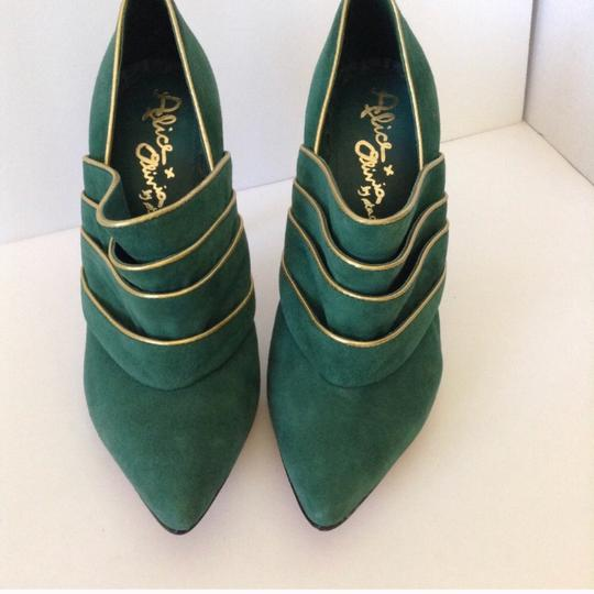 Alice + Olivia green & gold Boots Image 4