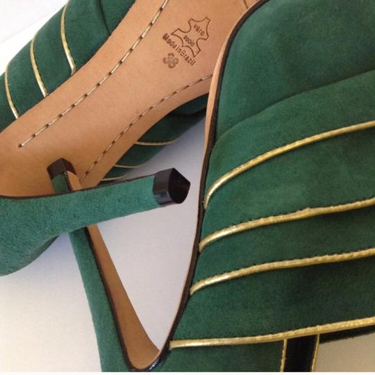 Alice + Olivia green & gold Boots Image 5