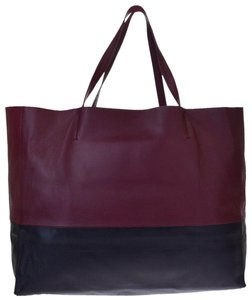 Céline Made In Italy Leather Tote in Bordeaux